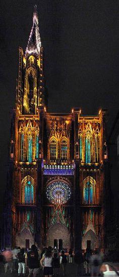 Straßburg - Beleuchtung des Münsters