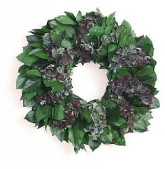 """Forest and Garden Wreath 18in. by Flora Pacifica. $57.49. Hand Made in Oregon, USA. The blue hydrangeas are air dried. Beautiful addition to any home or office. Made of Wild Salal and Hydrangea. The salal is preserved for long life. Forest and Garden - This wreath is a combination of wild harvesed salal mixed with a garden classic - the Hydrangea. The salal is preserved for long life and the blue hydrangeas are air dried. Direct from America's Wild Rivers Coast. About 18"""" across."""