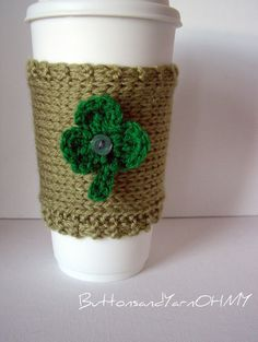 Knitted Cup Cozy 3 leaf clover coffee cup by ButtonsandYarnOhMy