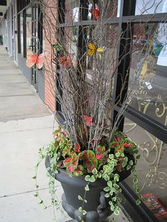 This flower  pot adds charm and whimsy outside the front door of a small boutique.