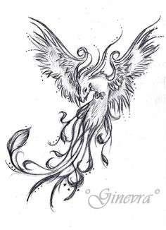 Beautiful phoenix tattoo idea, will look awesome in full color!!