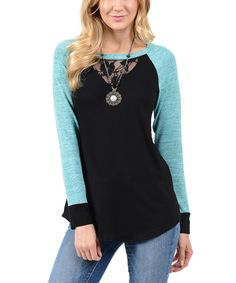 Another great find on #zulily! Black & Jace Lace Raglan Tunic by Goo Yoo #zulilyfinds