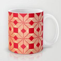 Fire Mug by Gréta Thórsdóttir - $15.00  #scandinavian #snowflake #heat, #passion #red #gold #pattern #kitchen