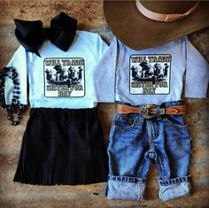 Western Fashion for Ranch and Rodeo kids and babies. Twin Outfits, Cute Baby Girl Outfits, Cute Outfits For Kids, Toddler Outfits, Western Baby Clothes, Western Babies, Baby Kids Clothes, Country Baby Clothes, Southern Baby