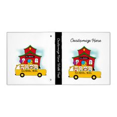Great for back to school, for teachers,for students, for preschool teachers and classroom aides, our School and School Bus T-shirts, buttons, mugs, bags, cards, stickers, and other school items are great gifts and you can customize them by adding text! Colorful and cute, these teacher and school apparel and gift items feature four stick figure students on a yellow school bus with a red schoolhouse. #school #education #teachers #school #bus #bus #yellow #bus #stick #figures #students #kids…