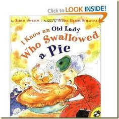 """Printables"" Activity Sheets for the Book ""I Know an Old Lady who Swallowed a Pie"" by Alison Jackson.  Includes picture and word recognition, graphing, story sequencing, magnet board printables and more....."
