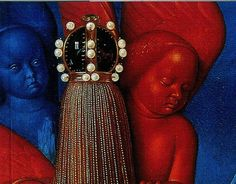 Jean Fouquet, vrgin and child surrounded by angels, The Melun Diptych, c. 1450  (detail)