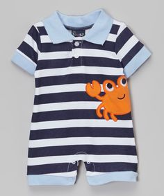 Sweet & Soft Blue & White Stripe Crab Romper - Infant by Sweet & Soft #zulily #zulilyfinds