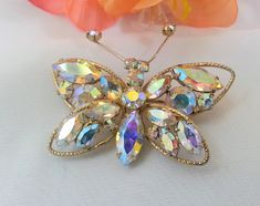 Vintage 1950s Butterfly Rhinestone Brooch  Auroro Borealis Signed Regency Statement Jewelry