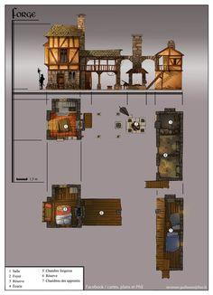 Building Link 496099715202673748 - ArtStation – Architectural concepts, Guillaume Tavernier Source by lghier Fantasy City, Fantasy House, Fantasy Map, Medieval Fantasy, Building Map, Building Design, Minecraft Blueprints, Minecraft Houses, Construction Minecraft