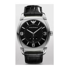 Emporio Armani Large Leather Strap Watch Black One Size AR0342 Emporio Armani. $204.00. Water-resistant to 5 ATM. Stainless steel case. Leather strap. Buckle closure. Case 43mm x 45mm.