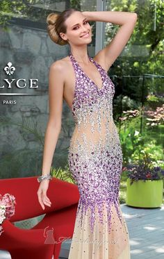 Be both glamorous and gorgeous in this sleeveless Alyce Prom 6047 ensemble. It is finely made of tulle fabric and delicately embellished with precious beads allover. This sleeveless evening gown also features a halter neckline, open back design and fitted floor-length skirt with flare. Measured from hollow to hem, it has a length of 59 inches. Note: Dry Clean Only.