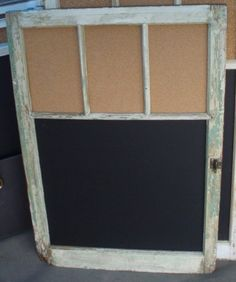 Going to make this week!! I have some old window frames I have been waiting to do something with and I have chalkboard paint and cork!! I need one of these behind my front door.