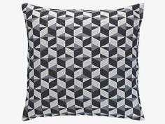 PAULISTA GREY Cotton Black and white quilted cushion 60 x 60cm - HabitatUK