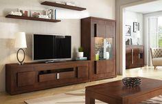 Muebles para salón de diseño con vitrina con iluminación led, realizados en madera de pino. Cajones provistos de guías metálicas con auto-freno. Incluye los tiradores metálicos con cuadros. Medidas totales 305x43x170 cm. y compuesta por:  + Vitrina con 2 puertas y con iluminación led, mide 105x43x170 cm. Disponible también sin led.  + Mueble de televisión con 2 puertas, 1 cajón y 1 puerta abatible, mide 200x43x55 cm.  + Estante para colgar en pared, mide 120x28x5 cm.