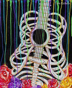 Skeleton guitar, bone guitar, bad ass guitar, mexican, music, musician, musician gift, rock and roll, custom guitar, wall art, poster, decor