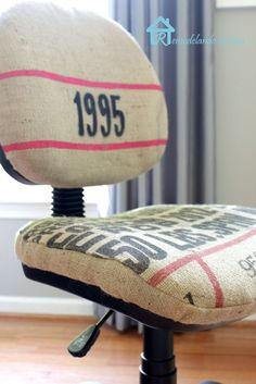"""Office Chair Makeover - From ripped """"leather"""" cover to Burlap coffee sack beauty."""