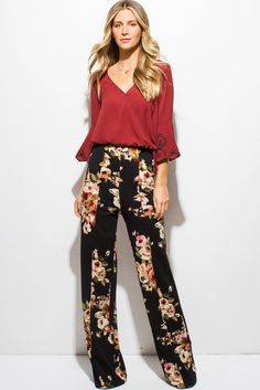 Laughing They good people like to joke But diet rich lean good work out thick will love pictures of curvacious sexy body! Printed Pants Outfits, Floral Pants Outfit, Floral Print Pants, Boho Pants, Boho Work Outfit, Fall Fashion Outfits, Cute Fashion, Look Fashion, Fashion 2020