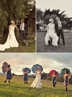 Umbrellas and wellie paired with formal wear?  Love the juxtaposition!