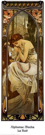 La Nuit (Night).  The fourth of four paintings of Les Heures du Jour (1899) Alphonse Mucha