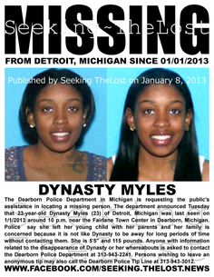 1/11/2013: $1,000.00 REWARD: Missing Mother: Please share to locate Dynasty Myles (23) missing from... pinned with Pinvolve