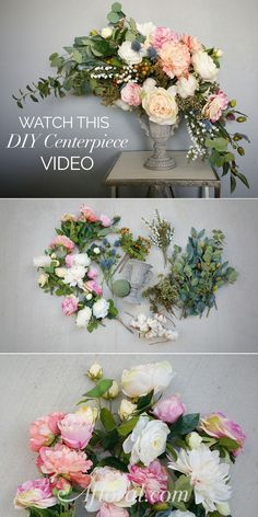 Learn how to make this beautiful centerpiece with faux flowers in this easy to follow video by The Faux Bouquets. #diywedding