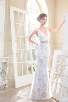 aac8fb5f5662a Style 2706 Tara Keely by Lazaro bridal gown - Ivory Chantilly lace trumpet bridal  gown, V neckline with a cashmere underlay, crystal beaded belt accenting ...