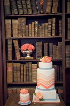 Coral, blue & pale pink cake