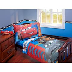 Disney - Cars bedding and  the wall colors but only I want breadboard on bottom half