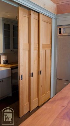The Bypass Door: This type is usually made of two parts that slide in front/back of each other. It is the most common type of sliding closet doors. Sometimes there are more than two pieces (three, even four), especially if the closets are really big.