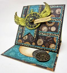 Steampunk Spells Easel Card by Lori Williams #Graphic45, #G45, #pinkcloudscrappers, #Loriwilliams