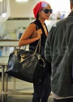 Nicole Richie Packs Up Her Chanel and Jets Out of Town - Bags & Shoes. - Pictures of Nicole Richie Departing Out of LAX With a Large Chanel Bag - Nicole Richie, Beautiful Handbags, Beautiful Bags, Designer Handbags Outlet, Designer Bags, Cheap Designer, Chanel Handbags, Chanel Bags, Coco Chanel