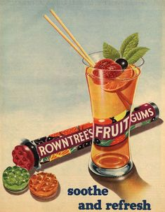 Rowntree's Fruit Gums, the fruity sweets which 'soothe and refresh'. Vintage Sweets, Retro Sweets, Vintage Candy, Retro Vintage, Retro Food, Vintage Food, Vintage Stuff, Retro Advertising, Retro Ads