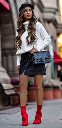 fall fashion trends / hat + white sweater + leather skirt + bag + red boots
