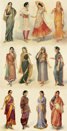 Variations of women Sari in Southern Asia: Nivi, Bengali, Oriya, Gujarati, Maharashtrian, Madisar, Kodagu... style. The Sari usually include 2 part: one wrapped accross the shoulder and one more piece of garment to wear inside: it could be a piece of fabric wrapped around body or a long skirt or short sleeves top... There are thousand ways of draping Sari