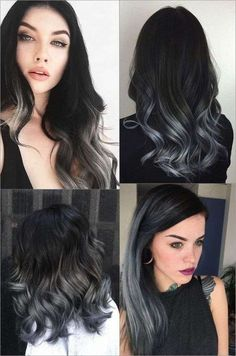 18 hair care products that give you the shiny curls of your dreams – love hair, – Balayage Haare Ombre Hair Color, Cool Hair Color, Black To Grey Ombre Hair, Black Colored Hair, Ombre Hair Brunette, Blue Grey Hair, Silver Ombre Hair, Dyed Hair Ombre, Gray Ombre