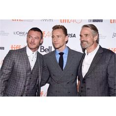 Luke Evans, Tom Hiddleston and Jeremy Irons attend the 'High-Rise' premiere during the 2015 Toronto International Film Festival at The Elgin on September 13, 2015 in Toronto, Canada. #LukeEvans #TomHiddleston #JeremyIrons #HighRiseMovie #TIFF