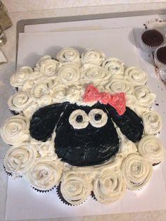 Lamb Cupcakes, Sheep Cupcakes, Sheep Cake, Fun Cupcakes, Cupcake Cakes, Cupcake Template, Cake Templates, Pull Apart Cupcake Cake, Pull Apart Cake