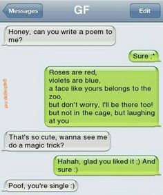 Hilarious Text Message About Ex GF vs. Ex BF