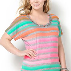 Striped Jeweled Neck Tee-Plus Size Tee-Avenue