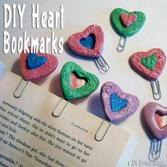DIY Polymer Clay Heart Bookmarks