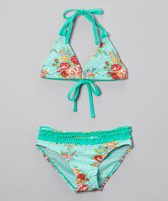 Loving this Rose & Mint Floral Ruffle Bikini - Toddler & Girls on #zulily! #zulilyfinds