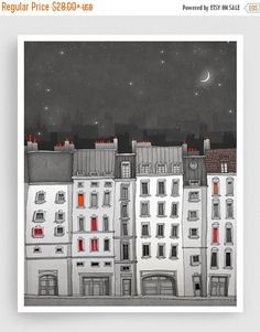 Paris Art Print - Usted no está solo (gris) - Paris Art Print Houses Illustration Home decoración Nursery arte niños pared arte Paris Facade Cartel Art And Illustration, Illustration Parisienne, Illustrations Posters, Illustration Fashion, Paris Kunst, Art Wall Kids, Wall Art, Art Kids, Paris Drawing