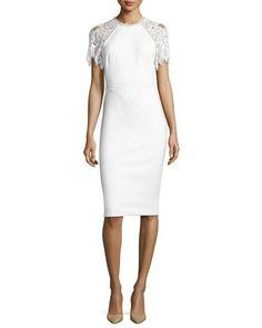 Lace-Sleeve Sheath Dress, White