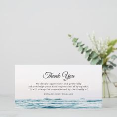 Funeral Thank You Note Grief Ocean Bereavement Grief, Funeral Thank You Notes, Expressions Of Sympathy, Thank You Photos, Professional Logo Design, Vintage Logo Design, Bereavement, Nature Scenes, Text Color, Photo Cards