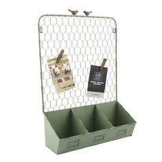 <div>Charming organizer looks like two birds are perched on an old metal fence! Place this organ...