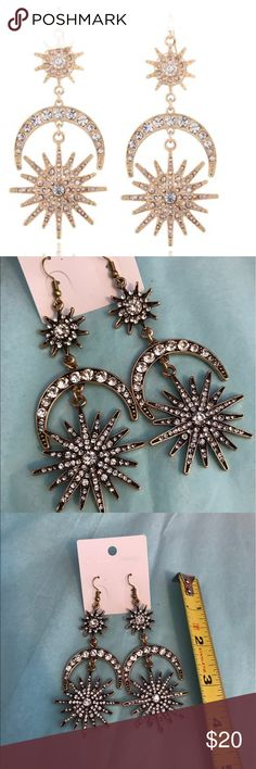 LARGE MOON/SUN EARRINGS Covered in rhinestones. Pic 2, 3, 4 is actual item and color. Jewelry Earrings