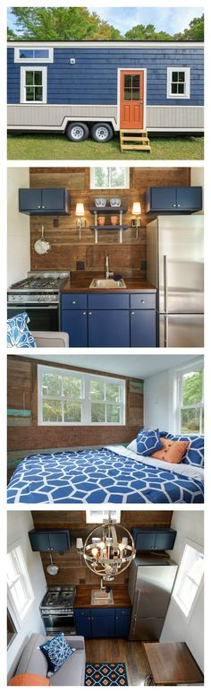 Another very livable tiny!This tiny house is here to prove anyone who claims you can't use dark colors in a small room wrong. Instead of going light and airy, the Indigo Tiny Home by Driftwood Homes USA is decorated with pops of dark, moody colors. Tiny House Movement, Small Room Design, Tiny House Design, Tiny House Plans, Tiny House On Wheels, Tiny Spaces, Small Rooms, Tiny House Living, Small Living