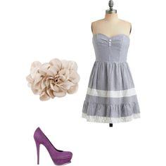 Seersucker dress, nude flower clutch, purple pumps.