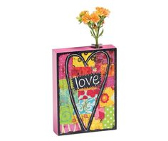 Demdaco 'Love' Bud Vase * Check out this great product. (This is an affiliate link) Love S, Peace And Love, Glass Containers, Christian Gifts, Sweet Style, Bud Vases, Vibrant Colors, Colorful, Glass Vase